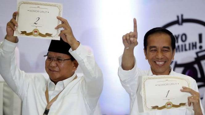Jokowi 1, Prabowo 2 dipertarungan Pilpres 2019